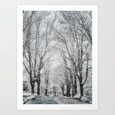 Snow!  Brookline, MA Art Print