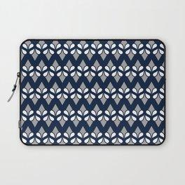 BEANTOWN navy, white, grey repeat art deco inspired pattern Laptop Sleeve