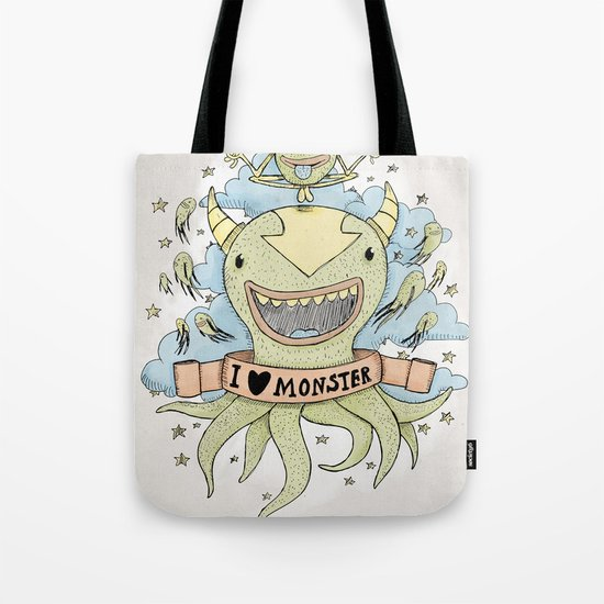 I love monster Tote Bag