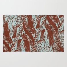 Duck Feather Back Graphic Teal and Brown Tile Rug