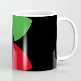 Two Four-Leaf-Clovers, one red, one green, meeting at a Party in a Black Background Coffee Mug