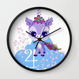 Unicorns Child Birthday Party Cute Cuddly Shirt Gift Wall Clock