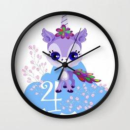 Unicorns Child Birthday Party Cute Cuddly Shirt Gift Wall Clock