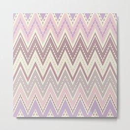 Pink beige zigzag Metal Print