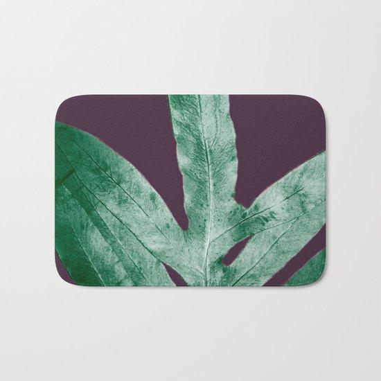 Green Fall Fern Purple Bath Mat