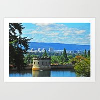 portlandia Art Prints featuring Portlandia by Keianh