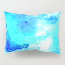 Modern blue sea hand painted watercolor Pillow Sham