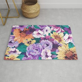 Colorfu summer flowers collage pattern Rug