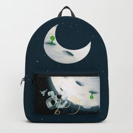 Spaceman Moon Alien and Stars Backpack
