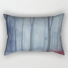 Winter Forest in Red and Blue Rectangular Pillow