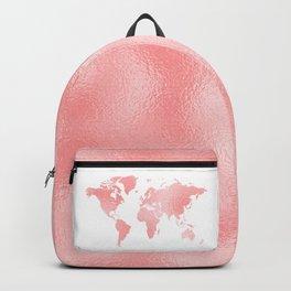 Pink Shiny Metal Foil Rose Gold World Map Backpack
