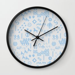 Peoples Story - Blue on Grey Wall Clock