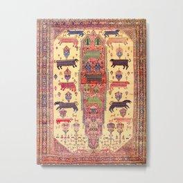 Large Animal Motif Antique Farahan Persian Rug Print Metal Print