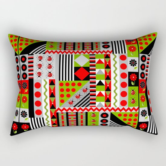 Geometric spring design with ladybugs and flowers Rectangular Pillow