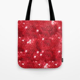 Faux Red Sequin Background Tote Bag