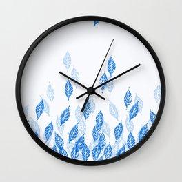 Falling Leaves (Blue) Wall Clock
