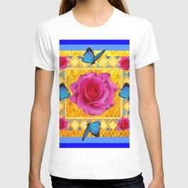 CERULEAN BLUE BUTTERFLIES SPRING PINK ROSES T-shirt