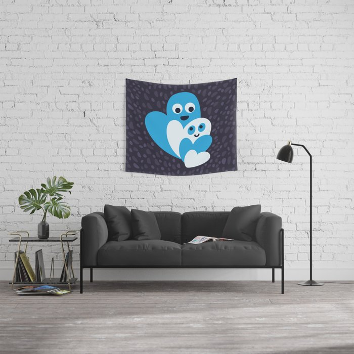 Happy Hearts Family Wall Tapestry