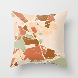 STOCKHOLM SWEDEN CITY MAP EARTH TONES Throw Pillow