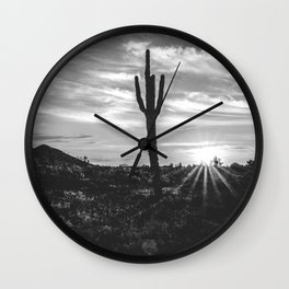 Saguaro Sunrise // Black and White Arizona Desert Landscape Photography Cactus Sun Rays Wall Clock