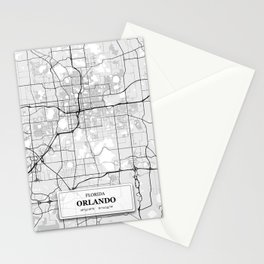 Orlando Florida City Map with GPS Coordinates Stationery Cards