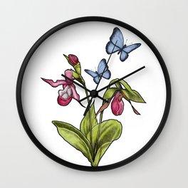 Ladyslipper Flowers and Blue Butterflies Illustration Wall Clock