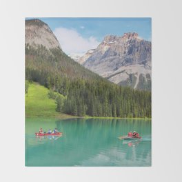 Boats on Emerald Lake Throw Blanket