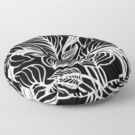 Black White Floral Minimalist Floor Pillow