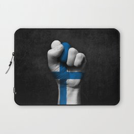 Finnish Flag on a Raised Clenched Fist Laptop Sleeve
