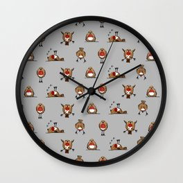 A round of Robins for Christmas Wall Clock
