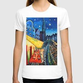 Landshut Bavaria Van Gogh Style Night Cafe - Customizable T-shirt