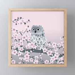 Cute Owl and Cherry Blossoms Pink Gray Framed Mini Art Print