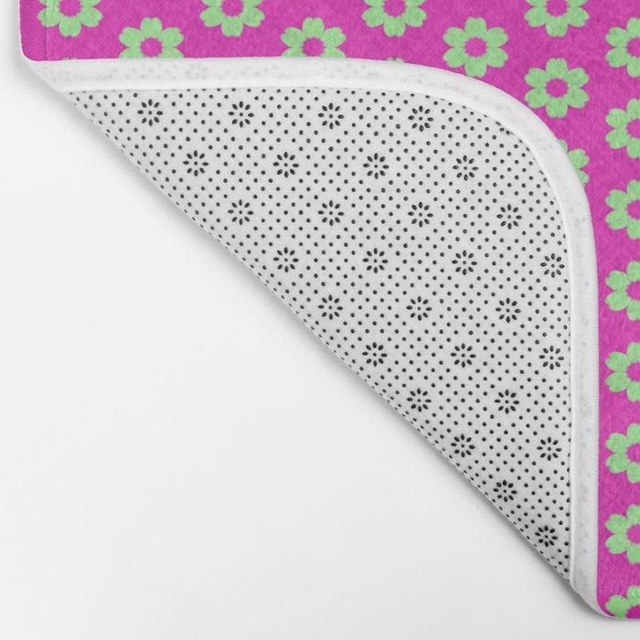 Hot Pink Plaid Mint Green Flower Bath Mat