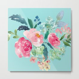 Aqua Blue and Pink Floral Watercolor Metal Print