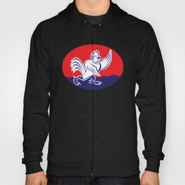 rooster cockerel crowing retro Hoody
