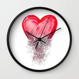 Heart painted from tangle of scribbles Wall Clock