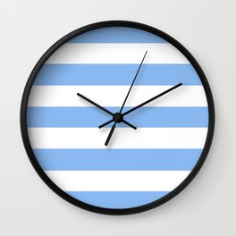 Jordy blue - solid color - white stripes pattern Wall Clock