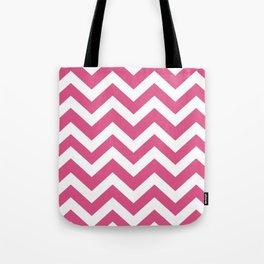 Fandango pink - pink color -  Zigzag Chevron Pattern Tote Bag