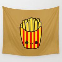 fries Wall Tapestries featuring Yummy kawaii fries by peppermintpopuk