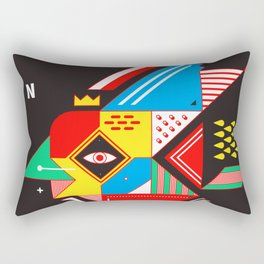 Vintage Abstract Art Colorful Geometric Shape Pattern with an Eye Rectangular Pillow