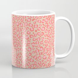Leopard Print | Living Coral Pink with Tan Background | girly pastel | Cheetah Coffee Mug