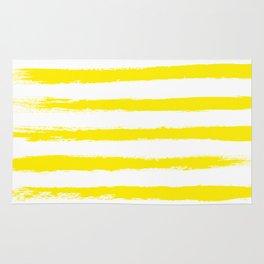 Sunny Yellow STRIPES Handpainted Brushstrokes Rug