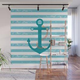 AFE Nautical Teal Ship Anchor Wall Mural