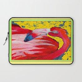 Modern Yellow Art  Flamingo Preening Design Laptop Sleeve