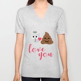 Poop and toilet tissue couple in romantic mood Unisex V-Neck