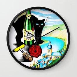 Vintage Zeller Katz Rhine River Valley Wine Bottle Label Print Wall Clock