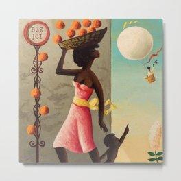 African American Masterpiece 'The Bus Stop' by O. Bulman Metal Print