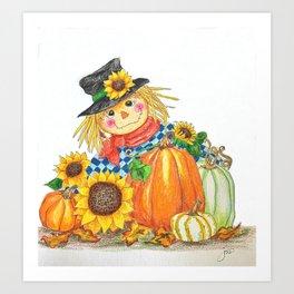 Sunflower Scarecrow Art Print