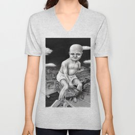 Attack of the Giant Baby - charcoal drawing Unisex V-Neck