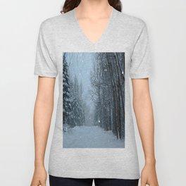 Snowy Street Unisex V-Neck